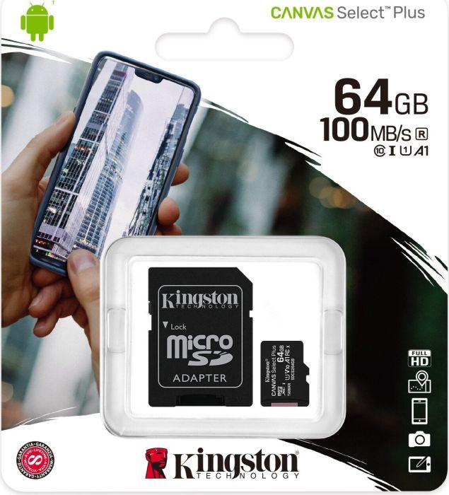 64 GB Kingston Canvas Select Plus R100 microSDHC Kit, UHS-I U1