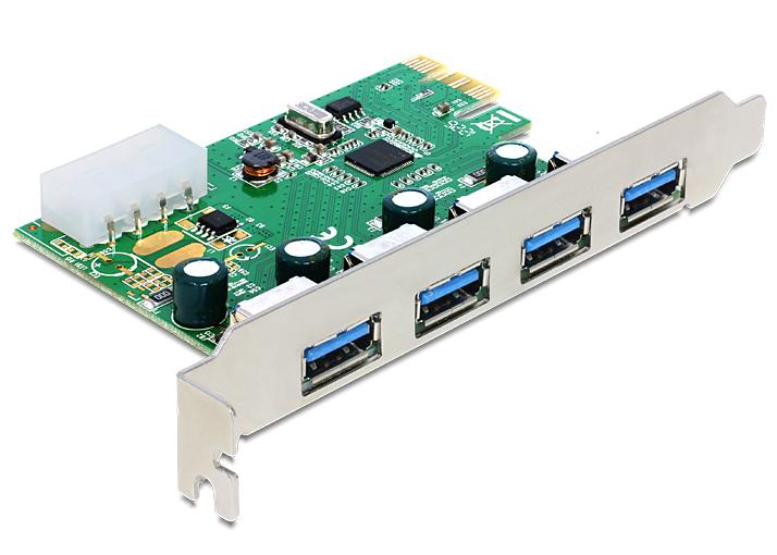 DeLOCK 89363, 4x USB 3.0, PCIe 2.0 x1