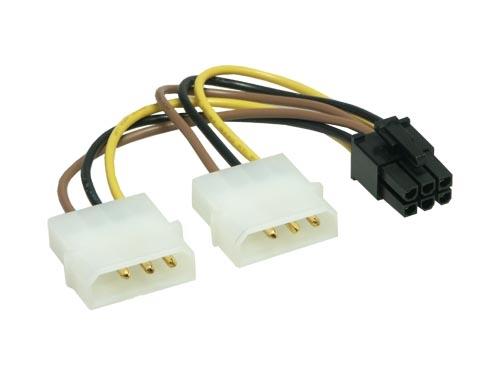 Stromadapterkabel  2x 5,25 --> 1x 6-Pin-PCIe